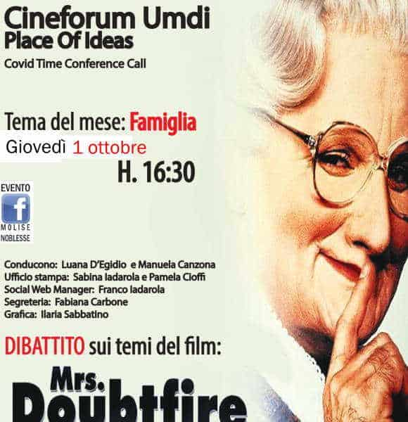 Mrs. Doubtfire al Cineforum Umdi