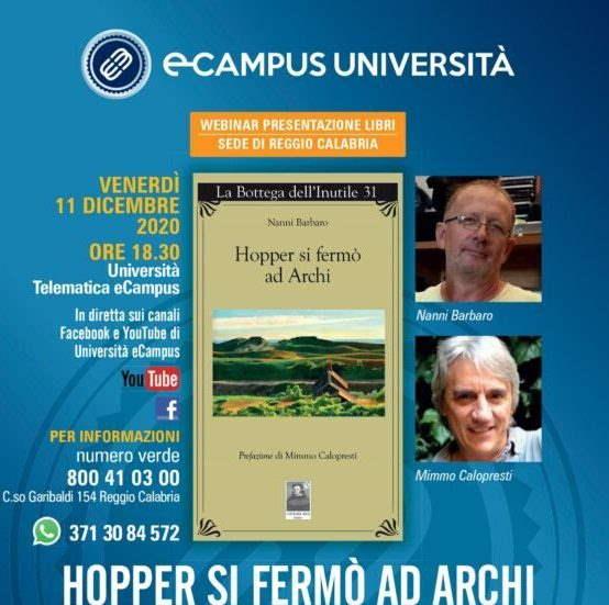 """Webinar Università eCampus con """"Hopper si fermò ad Archi"""". Il regista Calopresti con Nanni Barbaro"""