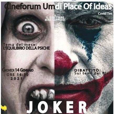 Joker al Cineforum Umdi Covid Time Place of Ideas con Molise Noblesse e Filitalia