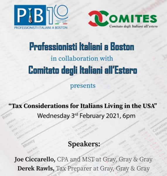 Tax Consideration for Italians, seminario PIB e Comites